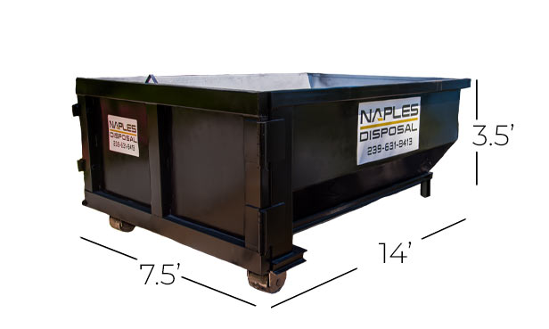 10 Yard Dumpster Proportions | Naples Excavating & Disposal, LLC. - Southwest Florida Dumpster Rentals