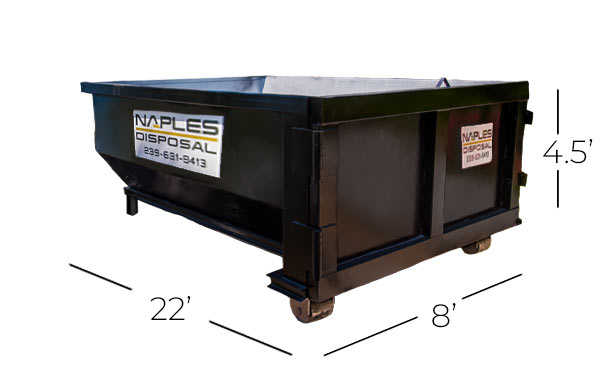 20 Yard Dumpster Proportions | Naples Excavating & Disposal, LLC. - Southwest Florida Dumpster Rentals